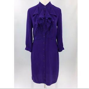 Club Monaco 100% Silk Purple shirt dress